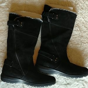 Women's Clarks black suede calf high boots